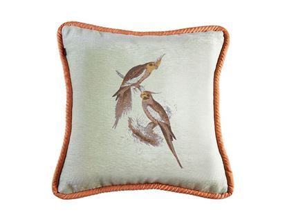 Picture of CUSHION COVER-LOVE BIRDS FORM GREENSize (18 x1 8in.)